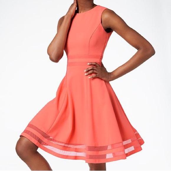 "09a86f9b149 Calvin Klein ""illusion trim fit   flare"" dress"